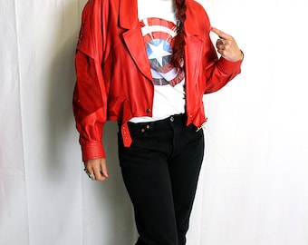 Red vintage leather/suede jacket short made in france 80's