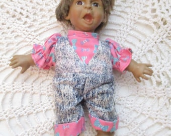 Ugly Gloobee Expression Girl Doll with Denim Dungarees  (1990s)