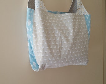 Large Reusable Cotton Tote Bag, Shopping Bag, Grocery Bag, Lined, Reversible, Project Tote, Ecofriendly, Zero Waste, Birds Clouds Polkadots
