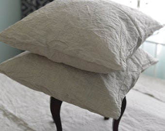 Linen pillow case in a natural color Softened linen bedding Pre washed linen pillowcase Queen King sizes Free shipping