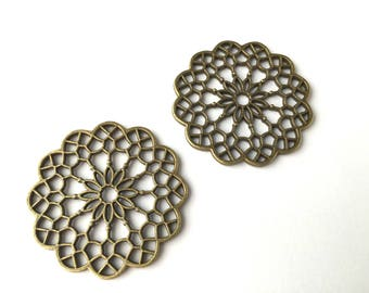 Great connectors rosette, floral filigree, bronze, 38mm, the pair