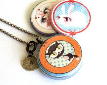 Cute Cat Locket, Cat Necklace, Magnetic with 3 Interchangeable Lids, Stamped Custom Initial, Teen Girl Gift, Steel, Polarity, Kanzilue Art