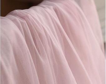 blush pink mesh fabric, light pink tulle lace fabric, pink gauze