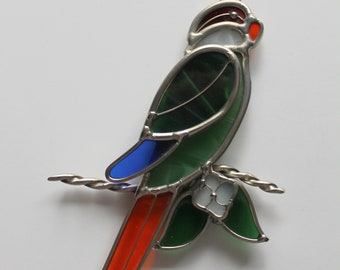 Vintage Stained Glass Parrot Suncatcher Hanging Art 1980s