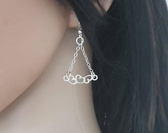 Silver triangle earrings dangle, silver heart earrings long, unusual earrings, love earrings