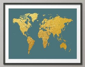 World Map Gold, Art Print (2467)