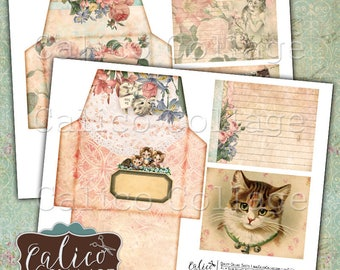 Printable Envelopes, Kitten Ephemera, Junk Journal, Printable Tags, Vintage Cats, Journal Tags, Tuck Spots, Calico Collage, Digital Collage