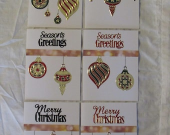 Christmas Ornament Cards, Homemade Holiday Greeting Cards, set of 6