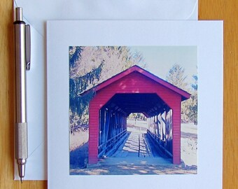 Covered Bridge Note Card, Note Cards, Stationery, Photo Note Card, Bridge Note Card, Blank Cards, Cards with Envelopes, Original Photography