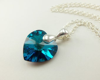 Blue Heart Necklace Crystal Heart Sterling Silver Pendant Swarovski Crystal Heart Necklace Bermuda Blue