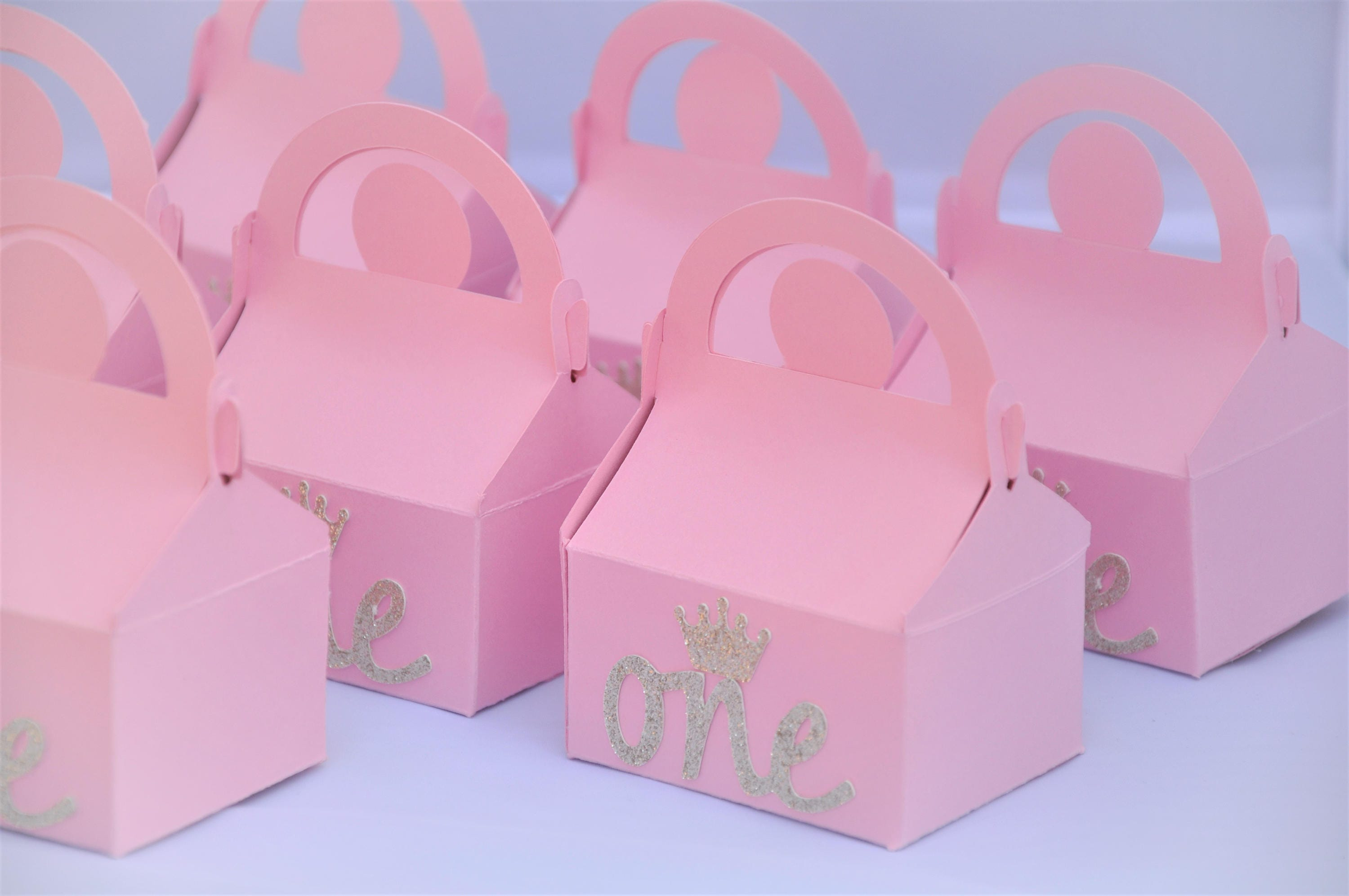 Birthday Party Pink & Gold First Birthday Gable Favor Box for