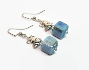 Blue Frog Earrings, Blue Frog Dangle Earrings, Boho Frog Earrings, Spiritual Earrings, Nature Lover Earrings