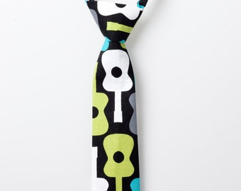 Little Boy Tie - Black with Guitars