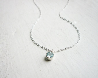 Tiny Blue Topaz Necklace in Sterling Silver - Dainty Sterling Silver and Gemstone Pendant Necklace