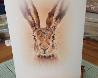 5x7 Hare Greeting Card. Birthday, anniversary, blank inner