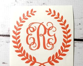 Couronne de blé monogramme sticker Couronne de Laurier trois initiale de monogramme sticker pour ordinateur portable autocollant voiture Flex