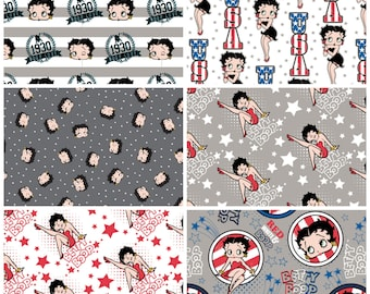 Red, White, and Betty Boop Fat Quarter Bundle - 6 prints