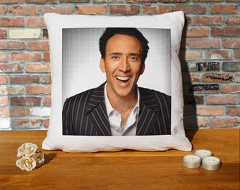 Nicolas Cage Pillow Cushion - 16x16in - White