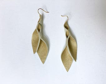 Petal Collection- Dusty Gold Leather Earrings 3 inch