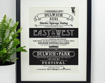 Dulwich location Print. Fathers day gift. Gift for her. Typography Print. Gift for him. Housewarming gift. Wall art. Home decor. Art