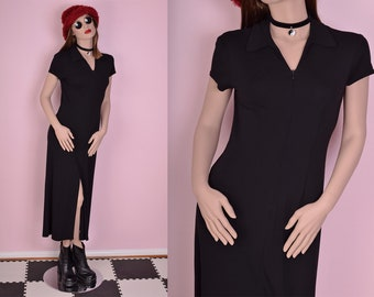 90s Black Maxi Dress/ US 4/ 1990s/ Short Sleeve