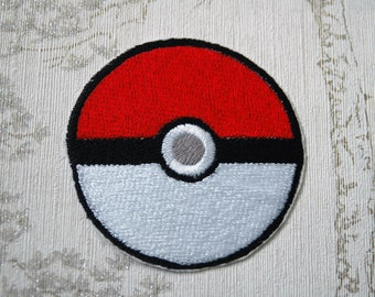 Pokeball embroidered iron on patch.