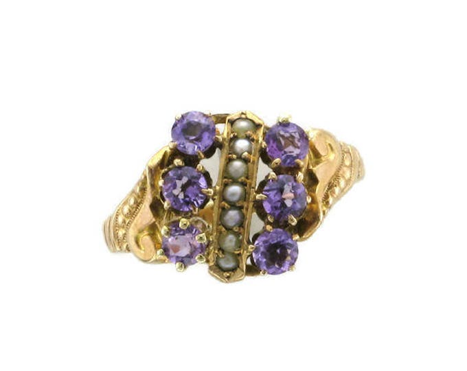 Amethyst and Seed Pearl Victorian Ring; Antique Amethyst Ring; Antique Amethyst and Pearl Ring; Amethyst and Pearl Ring