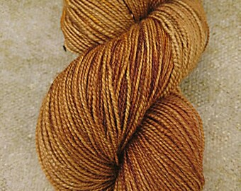 Gingerbread hand dyed BFL fingering high twist yarn