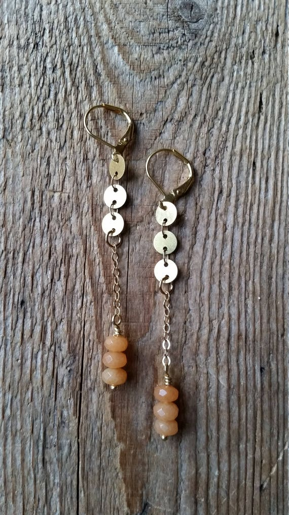 Raw brass disc chain with red aventurine dangles