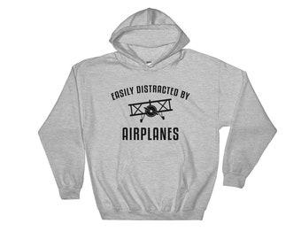 Easily distracted by airplanes Hooded Sweatshirt