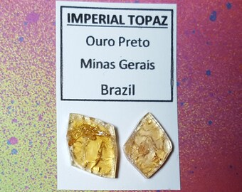 Sale 2 IMPERIAL TOPAZ  Rare Double Terminated Crystals From Brazil Wire Wrap Supplies