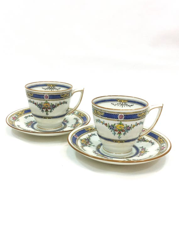Pair Minton Princess Demitasse Cups & Saucers, Art Deco Design, Enamel Flower Swags Deep Blue, Antique 1920s Bone China English Teacups