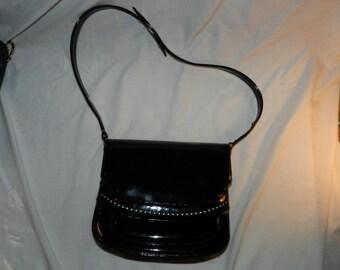 Vintage Nicholas Reich Purse / Handbag - Black Patent leather with Brass colored accents - Shiny Black bag                              26-7