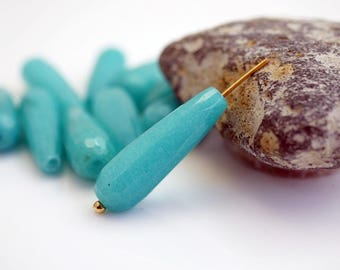 Agate Teardrop Bead Ocean Blue Turquoise Teardrop Bead 25x8mm Teardrop Earring Bead Gemstone Bead (2) X265 Turquoise Blue