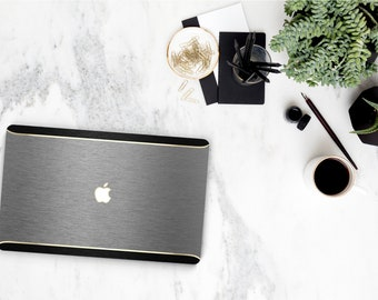 Macbook Pro 13 Case Macbook Air Case Laptop Case Macbook Case . Brushed Gray and Champagne Gold Chrome with Black Brushed Edge - Platinum