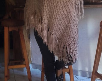 Shawl, poncho, light mid-season elegant, fringed