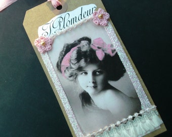 Handmade Gift Tag, Lace Tag, Victorian Girl and Roses, Journaling, Keepsake, Gift for Her, Bridal Wedding Gift