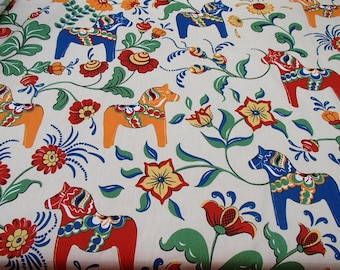 Scandinavian Swedish Dala Horses & Flowers on Ecru Fabric