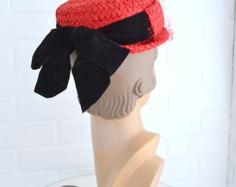 1950s Mr. Norman Red Straw Hat with Black Velvet Bow