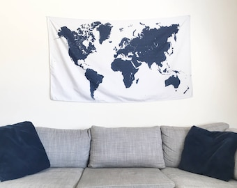 Map wall hanging etsy new world map tapestry with puzzle textured background modern wall hanging art tapestry gumiabroncs Image collections