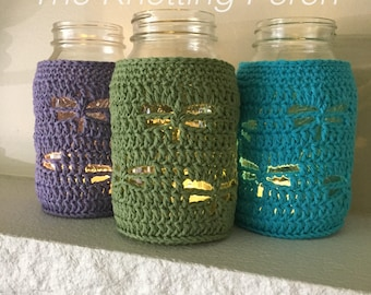 Dragonfly Mason Jar Cover, Candle Holder, Mason Jar Decoration, Crochet Dragonfly, Mason Jar Candle, Home Decor, Garden Party, Mother's Day