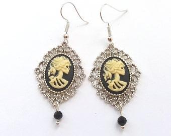 Silver Zombie Earrings, Filigree Skull Earrings, Lolita Earrings, Skeleton Cameo Earrings, Plated, Surgical or Sterling Silver Wires