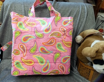 Vinyl Lined Grocery Shopping Tote Bag, Flower Drops Pink Print