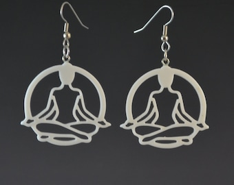 Lotus Position Yoga Earrings - White - Upcycled Corian Handmade Recycled Jewelry by Mark Noll - Gift for Her