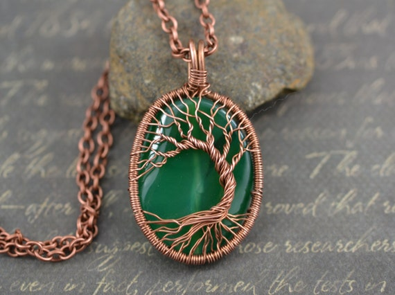 Green Agate Tree-Of-Life Halskette Wired Kupfer Anhänger Draht