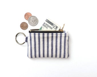 Keychain Coin Purse Ticking Stripe Blue Mini Pouch