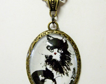 Black and white cat pendant with chain - CAP09-019