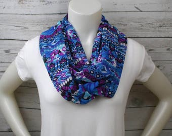 Blue and Purple Print Infinity Scarf, Bold Graphic Loop Scarf, Tribal Print Infinity Scarf, Mothers Day Gift, Mom Gift Idea