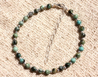 925 sterling silver and semi precious 4mm African Turquoise bracelet