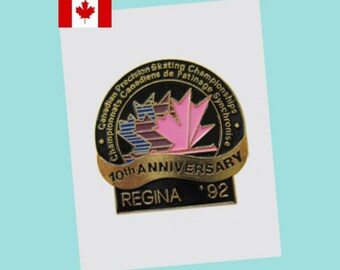 1992 Regina Canadian Precision (Synchro) Skating Championships Lapel Pin EX - 10th Anniversary - SCARCE